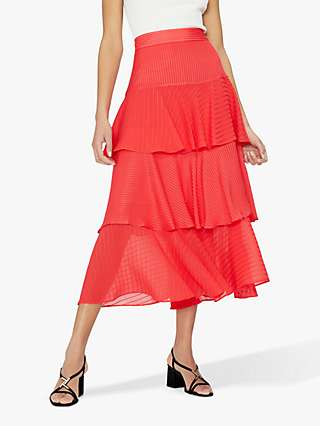 Ted Baker Enok Tiered Midi Skirt, Orange