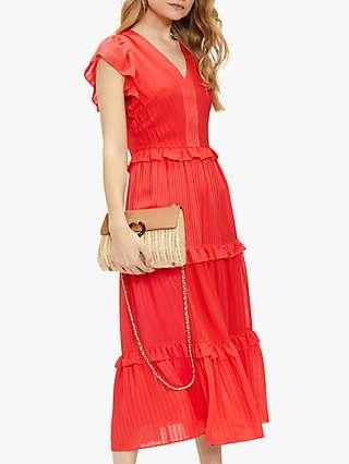 Ted Baker Tiliana Tiered Ruffle Midi Dress, Orange Coral