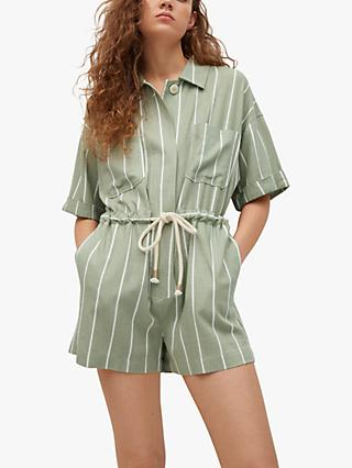 Mango Stripe Linen Blend Belted Jumpsuit, Green/Multi