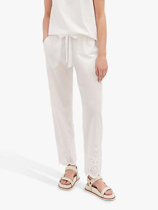 Jigsaw Broderie Cotton Trousers, White