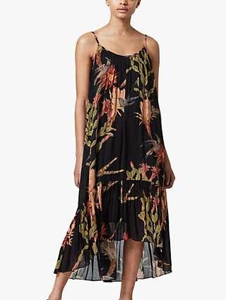AllSaints Paola Floral Midi Dress, Black