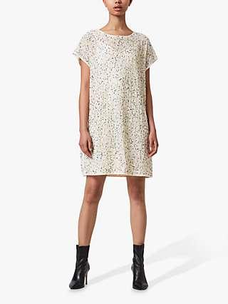 AllSaints Loren Embellished Shift Dress, Pearl