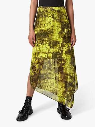 AllSaints Rhea Mirus Reptile Print Midi Skirt, Lime Green