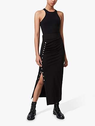 AllSaints Hatti Popper Detail Maxi Skirt, Black