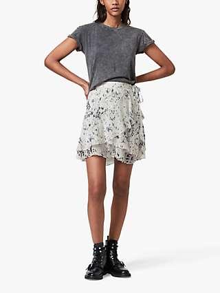AllSaints Kasa Yermo Speckle Print Skirt, Ecru