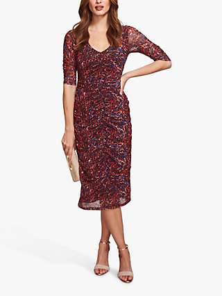 Sosandar Animal Print Ruched Front Dress, Red