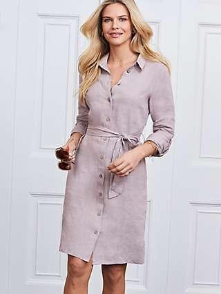 Sosandar Linen Shirt Knee Length Dress, Neutral