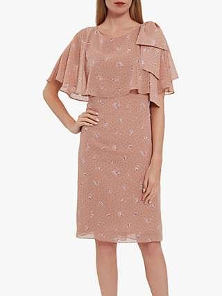 Gina Bacconi Claren Floral Spot Chiffon Dress, Pink