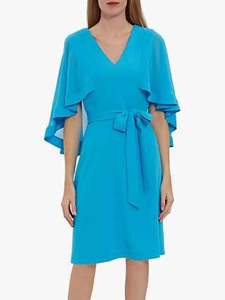 Gina Bacconi Chestina Chiffon Cape Knee Length Dress, Summer Turquoise