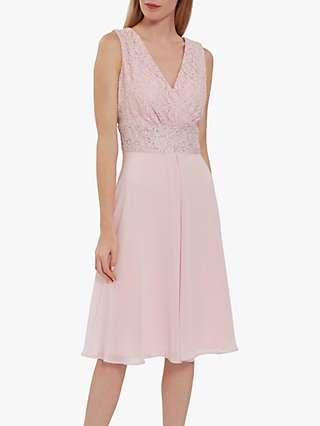 Gina Bacconi Gracie Metallic Floral Lace Sleeveless Dress