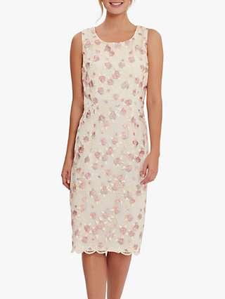 Gina Bacconi Hanneli Floral Embroidered Shift Dress, Peach