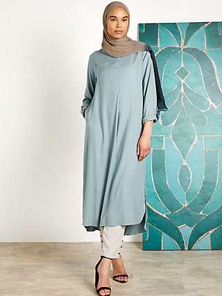 Aab A-Line Stand Collar Midi Dress