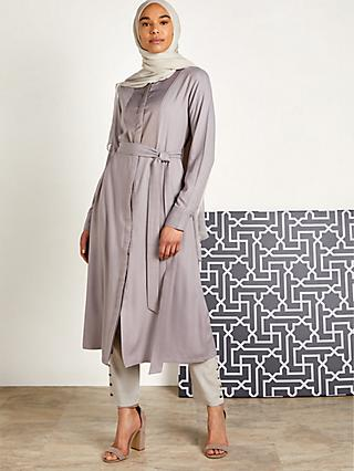 Aab Satin Panel Midi Shirt Dress