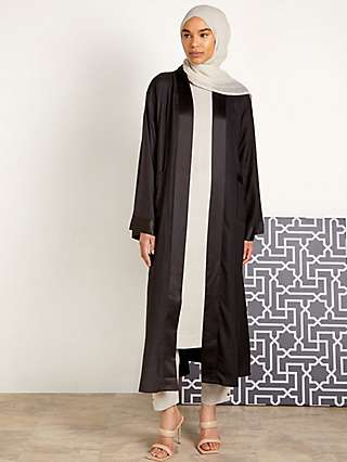 Aab Seta Satin Trim Kimono, Black
