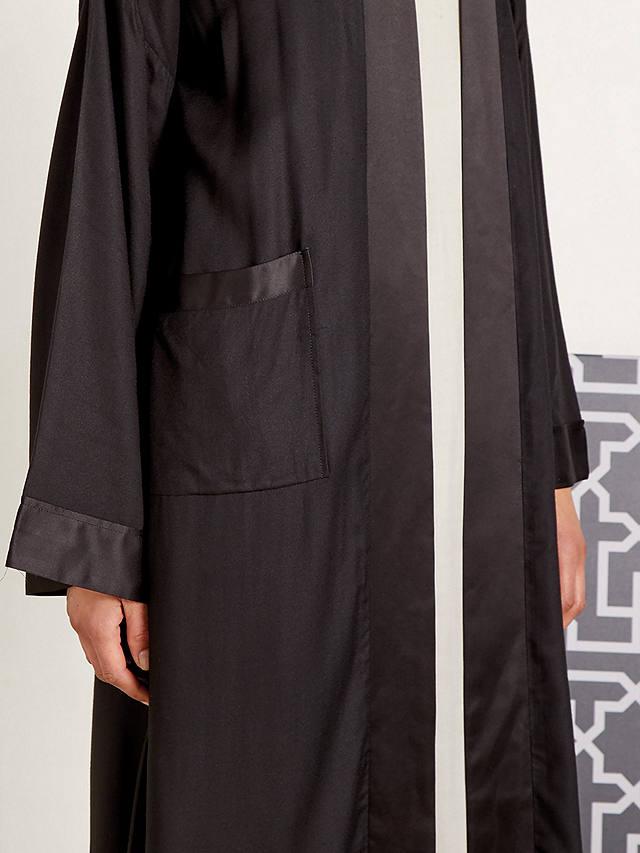 Aab Seta Satin Trim Kimono, Black at John Lewis & Partners