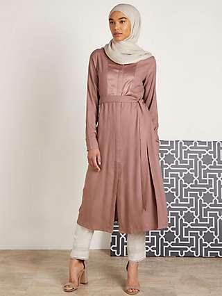 Aab Satin Panel Midi Shirt Dress