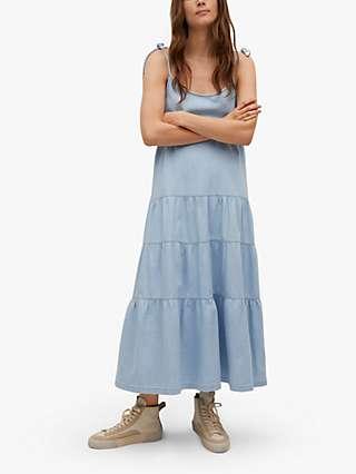 Mango Tiered Frill Hem Maxi Dress, Blue