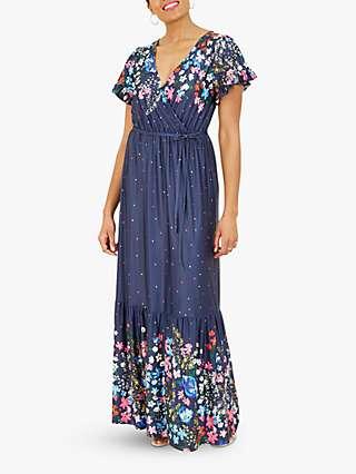 Yumi Polka Dot Floral Placement Maxi Dress, Navy/Multi