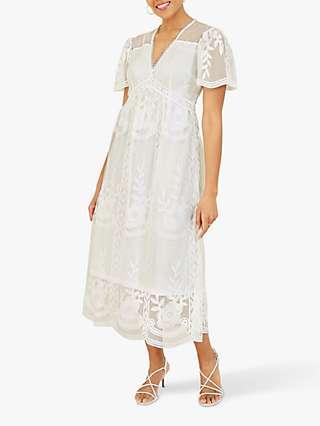 Yumi Lace Empire Waist Midi Dress, White