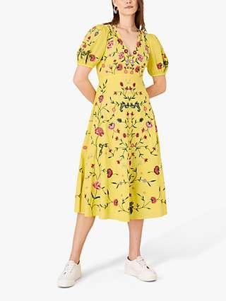 Monsoon Delia Floral Print Midi Tea Dress, Yellow