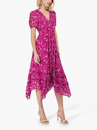Monsoon Rebecca Floral Print Dress, Soft Pink/Multi