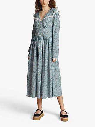 Ghost Fable Floral Midi Dress, Blue/Multi