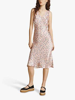 Ghost Ditsy Floral Print Midi Summer Dress, Pink