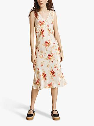Ghost Floral Print Midi Summer Dress, Cream Roses