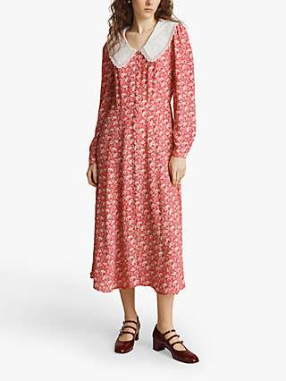 Ghost Aiyanna Paisely Print Midi Dress, Red