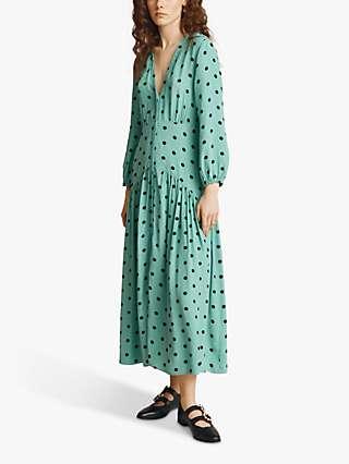 Ghost Alyanna Polka Dot Midi Dress