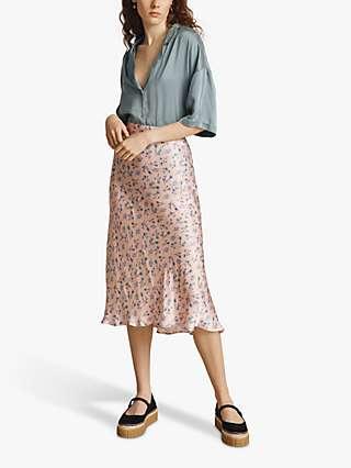 Ghost Luna Floral Print Midi Skirt, Pink Ditsy