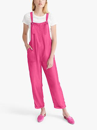 NRBY Carrie Linen Dunagrees, Hot Pink