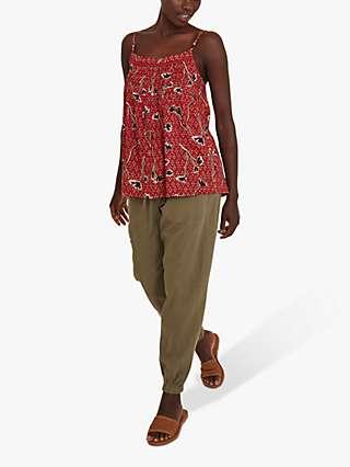 FatFace Sian Floral Print Cami Top, Brick Red