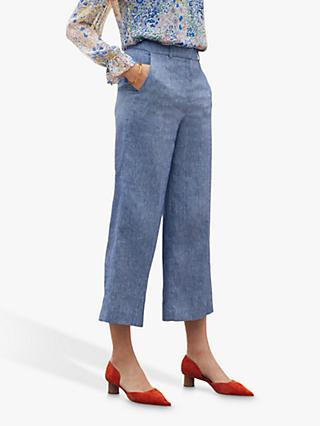 The Fold Saunton Linen Trousers, Blue