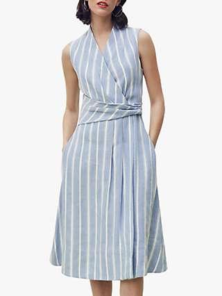 The Fold Astell Striped Linen Midi Dress, Blue