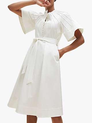 The Fold Symi Pin Tuck Detail Cotton Midi Dress, White