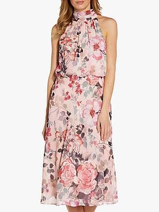 Adrianna Papell Floral Bias Midi Dress, Blush/Multi