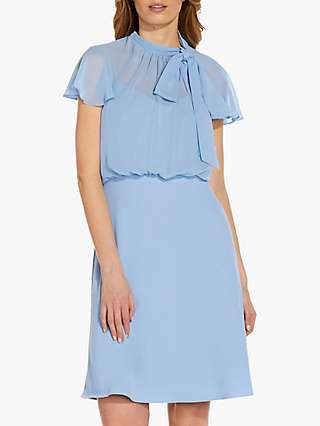 Adrianna Papell Crepe Tie Neck Bias Cut Dress