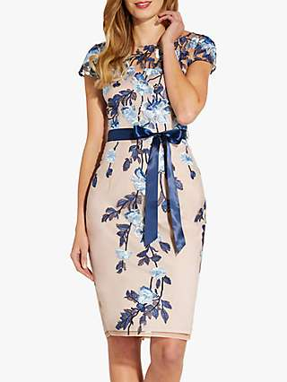 Adrianna Papell Floral Embroidered Sheath Dress, Midnight/Nude