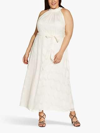 Adrianna Papell Plus Size Geometric Print Maxi Dress, Ivory