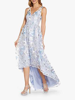 Adrianna Papell Floral Embroidery Hi-Lo Hem Gown, Clear Water/Ivory
