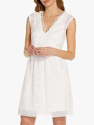 Adrianna Papell Guipure Lace Dress, Ivory