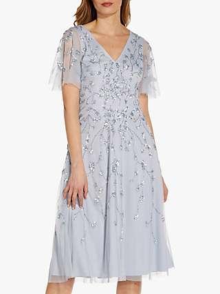 Adrianna Papell Plus Size Beaded Midi Dress, Glacier
