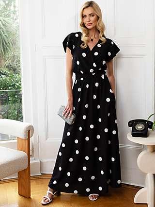 HotSquash Spot Print Wrap Front Maxi Dress, Black