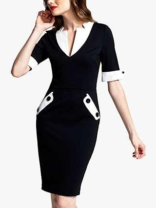 HotSquash Contrast V-Neck Knee Length Dress, Black