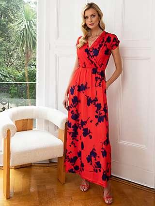 HotSquash Floral Print Wrap Front Maxi Dress, Red/Blue