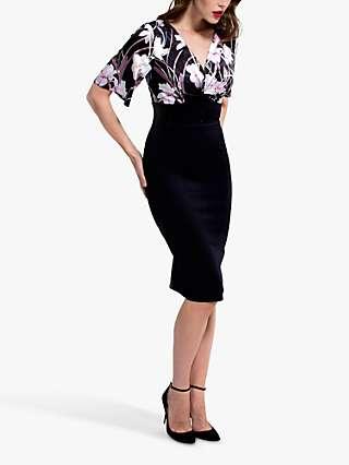 HotSquash Emma Button Waist Floral Print Pencil Dress, Black/Multi