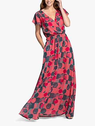 HotSquash Circle Geo Print Wrap Front Maxi Dress