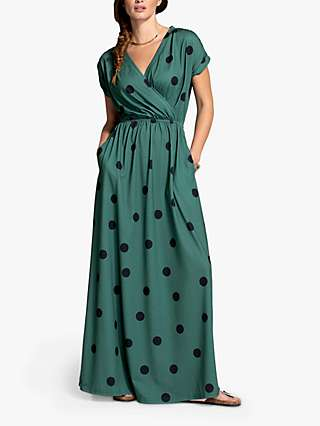 HotSquash Spot Print Wrap Front Maxi Dress, Green/Black