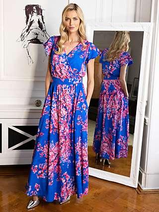 HotSquash Floral Print Wrap Front Maxi Dress, Blue/Multi